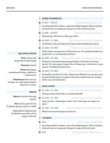 Chronological Resume Vertical Design by Modern Resume Templates 64 Exles Free