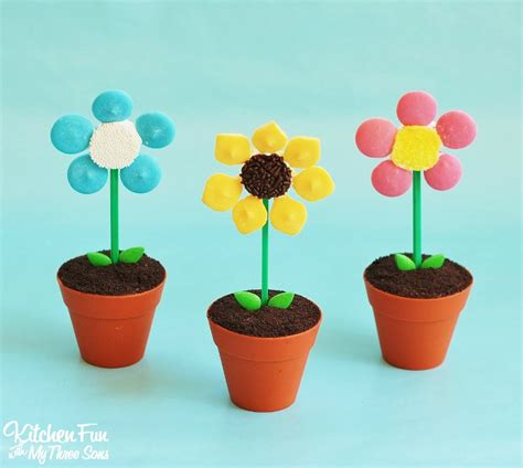 flower pot cupcakes kitchen fun    sons