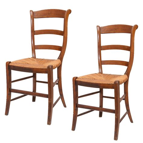 pair antique wood dining chairs with seats