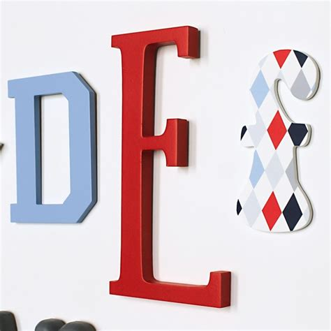 alphabet wooden wall letters full set blue navy red grey  white