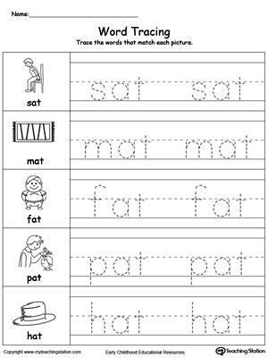 Word Tracing At Words Myteachingstationcom