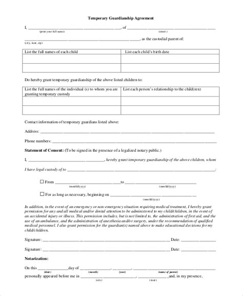 temporary guardianship form for school enrollment the