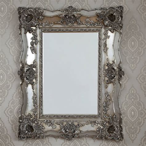 Vintage Ornate Silver Decorative Mirror By Decorative