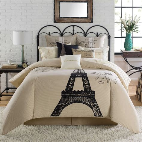 paris comforter set full 7 pc anthology comforter set eiffel tower vintage script ebay