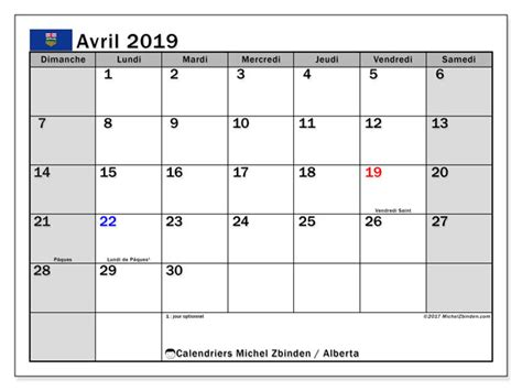 calendriers avril jours feries canada michel zbinden fr