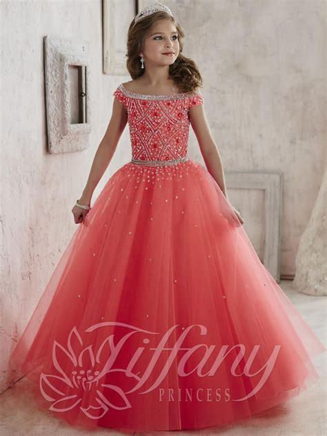 tiffany princess  girls scattered sequin tulle gown