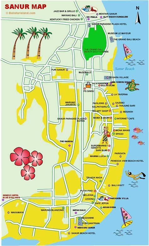 sanur map denpasar bali map thailand indonesia
