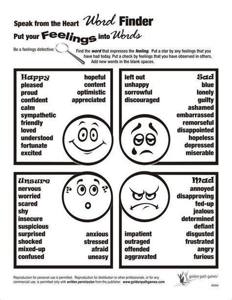 feelings word finder flyer counseling kids elementary