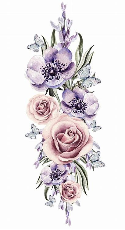 Watercolor Flower Flowers Floral Vector Tattoos Tattoo