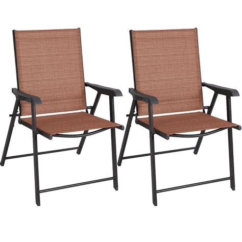 Sling Patio Furniture by 2 Pcs Patio Folding Sling Chairs Furniture Cing Deck