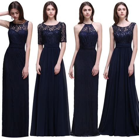 misshow real cheap navy blue bridesmaid dresses long