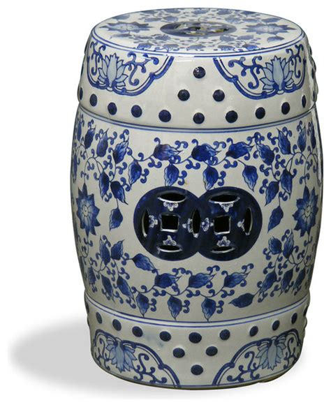 blue and white canton porcelain garden stool asian