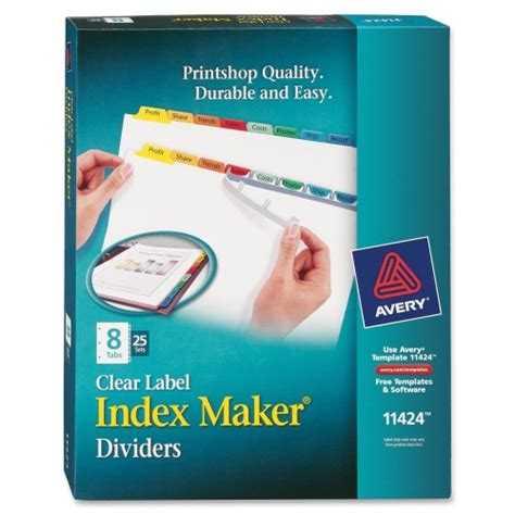 Avery Easy Apply 5 Tab Template Avery Index Maker Punched Clear Label Tab Divider