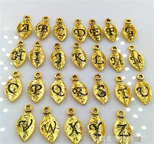 hot sales leaves shape a z initial letter alphabet pendant With greek letter jewelry charms
