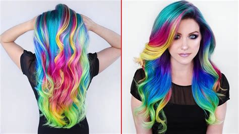 Rainbow Hair Color Transformations Creating Colorful