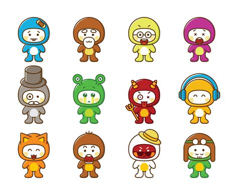 Cute Cartoon Characters Vector Art & Graphics