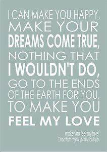 Make You Feel My Love Song Lyric Quote - Adele Bob Dylan