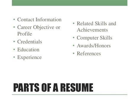 What Are The Five Sections Of A Resume by Cover Letters Resumes