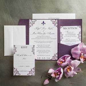 Plum flourish pocket fold wedding invitations too chic for Plum pocketfold wedding invitations