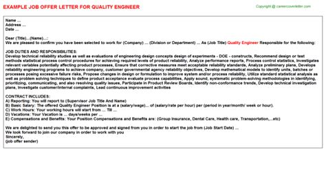quality engineer offer letters