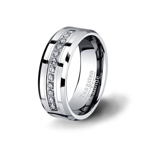 diamond wedding band ring mens tungsten carbide mm wide