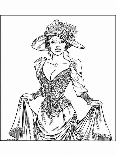 Coloring Pages Woman Victorian Printable Recommended