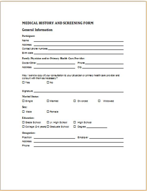 Health Questionnaire Form Template by History And Screening Form Printable