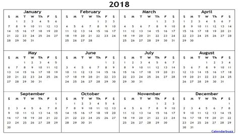 2018 Yearly Calendar Template 2018 Yearly Calendar Printable Word 2018 Calendars