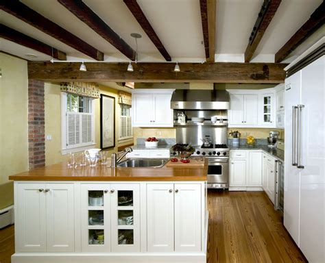 faux ceiling beams kitchen traditional with ceiling