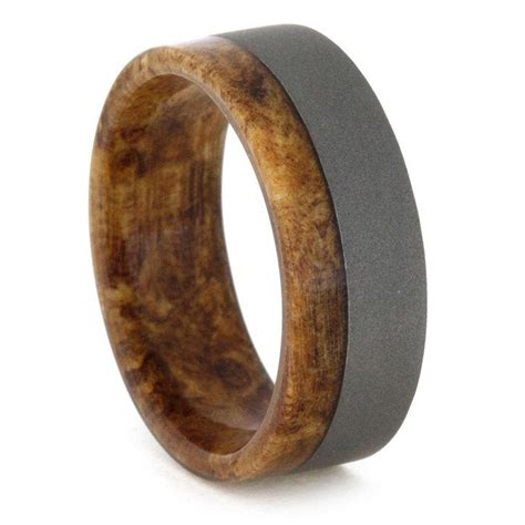 titanium and wood ring spalted maple wood inner sleeve