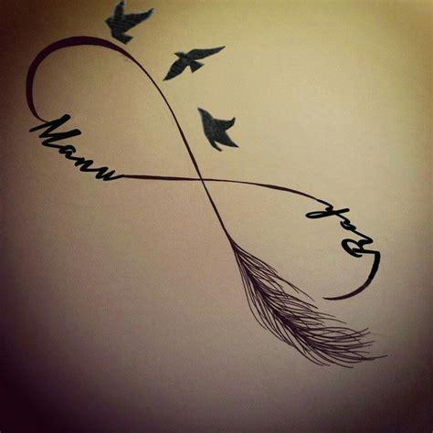 tatouage infini plume oiseau modeles  exemples