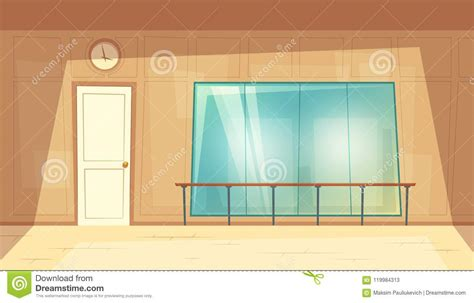 Vector Cartoon Empty Dance-hall With Mirrors Stock Vector