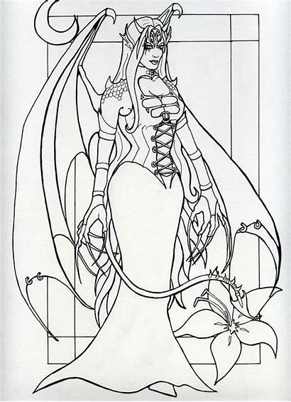 Succubus Coloring Lineart Drawings 52kb 895px Deviantart