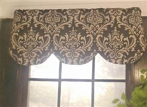 Window curtain valance damask brown beige linen 42 x 16 inches for Beige damask curtains