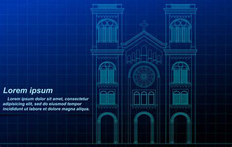 church outline  blueprint background  vector art  vecteezy