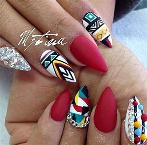 Tribal Nails- nail art, stiletto nails | Nails | Pinterest
