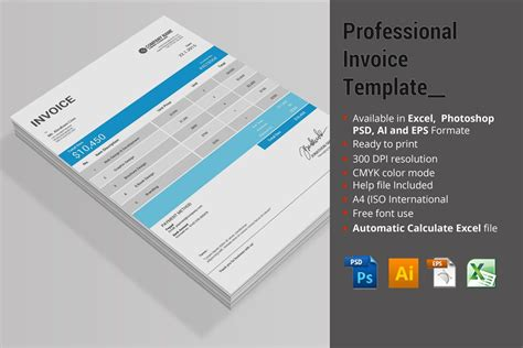 professional invoice template stationery templates