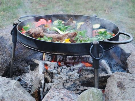 iron cast pit fire cooking grilling firepit utensils using metal thebackyardgnome
