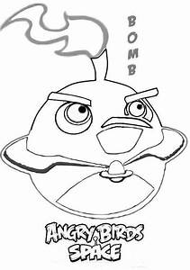 Dibujo para colorear de Angry Birds Space : Bomb Bird Juegos de Angry Birds