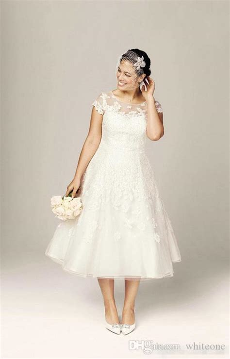discount modest tea length  size lace applique wedding