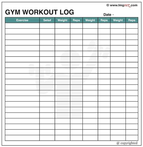 Daily Gym Workout Chart