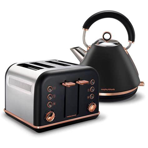 morphy richards kettle and toaster set black accents gold pyramid kettle and 4 slice toaster set