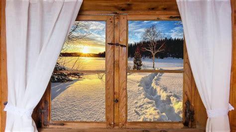 winter view   log cabin window hd wallpaper