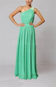 mint green classic one shoulder chiffon floor length With mint green wedding guest dress