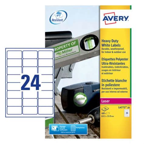 avery laser label heavy duty   sheet white pack
