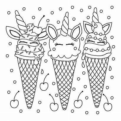 Unicorn Coloring Ice Cream Printable Accompany Allow
