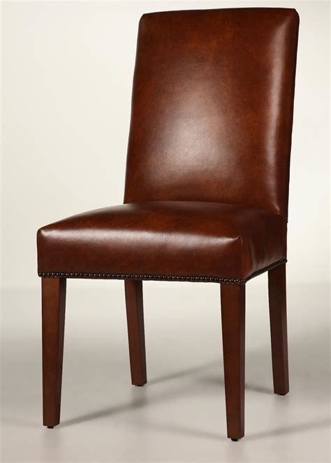 straight  leather dining chair  tapered legs