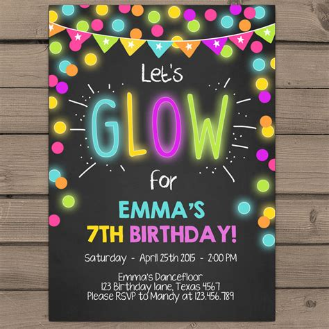 neon glow party invitation glow birthday invitation glow
