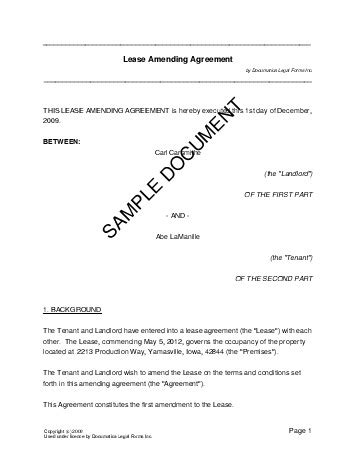 lease amending agreement usa legal templates