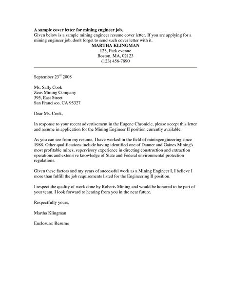 Cover Letter For A Resume by Cover Letter Sle Free Sle Cover Letter For